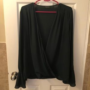 Trouve Drape-Front Ruffle Sleeve Top
